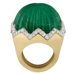 1960s David Webb Carved Emerald Diamond Gold  Ring