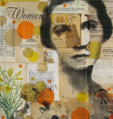 A mixed media collage by Michelle Caplan - a nice pastiche of old newspaper clippings, vintage photographs, and illustrations.