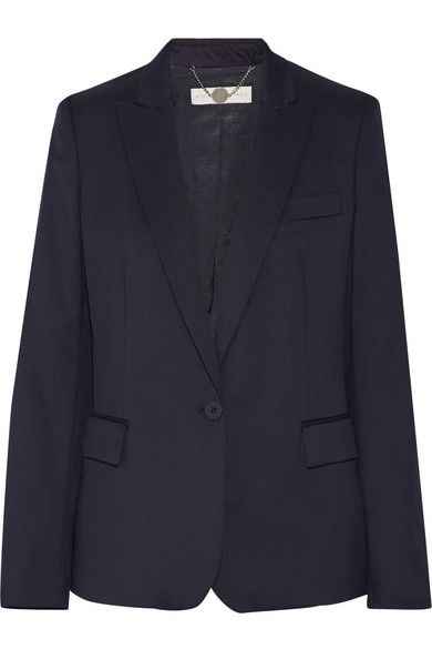 Navy wool Button fastening at front 100% wool; bodice lining: 52% viscose, 48% cotton; sleeve lining: 100% viscose Dry clean