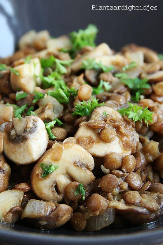 Plantaardigheidjes: Linzen & champignons met mosterd en balsamico