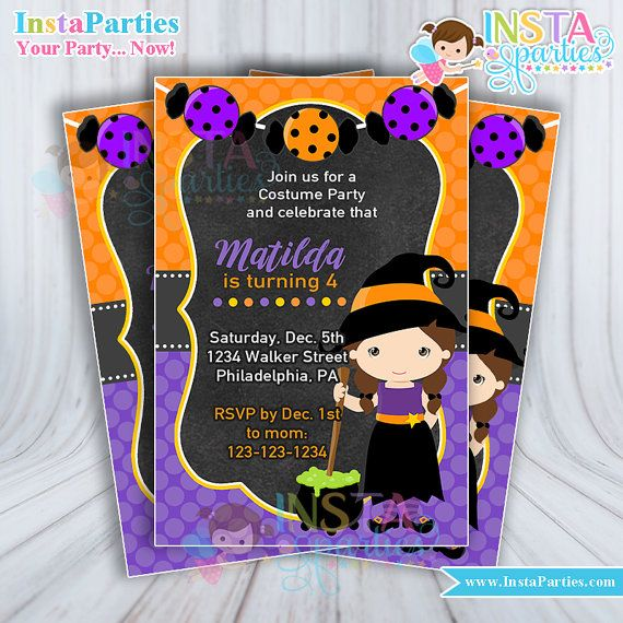 Halloween witch invitations / witch invitation halloween birthday party / witch Party invites digital download / Cute witch orange purple
