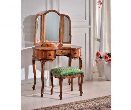 Nábytek Tarocco je vyroben s péčí a přísností z vysoce kvalitních materiálů. Nábytkové kusy jsou vyráběny moderními technologiemi a ručně upravené skutečnými italskými mistry, který zachovávají italskou atmosféru, exkluzivita a elegantního ducha. Má 1 zásuvku. Zrcadlo je součástí balení. Obrázek je pouze ilustrativní, avizovaný výrobek je toaletní stolek se zrcadlem.