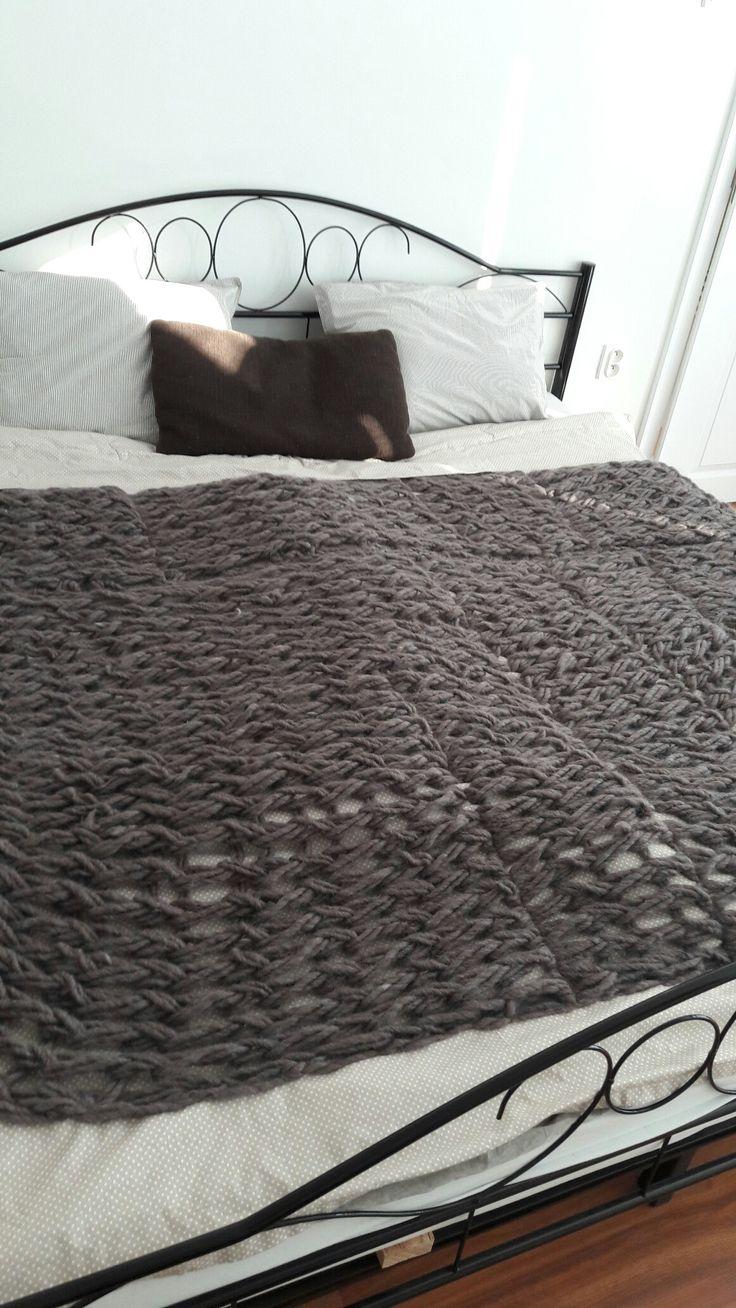 Handmade farmhouse blanket from my dear sister #diy#handmade#farmhousedecor