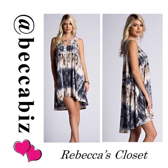 You will Love this   Tie dye print keyhole dress You will Love how cute this dress is on you.   So soft and will not fade or shrink.   Sleeveless tie dye print keyhole front dress.  95% rayon, 5% spandex.  Available: 2 small.    10% off bundles of 2 or more.  No Trades.    You may purchase this listing Boutique Dresses High Low