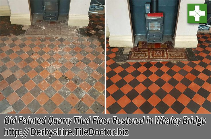 This was an unusual Quarry Tiled Floor that I was asked to renovate at a house in Whaley Bridge which is a small town in Derbyshire Peak district. The floor tiles were laid in a diamond pattern using alternating Black & Red quarry tiles. The house was more than 100 years old and recently changed hands. A large rug had previously occupied the middle of the floor and the tiles around the side has been painted over with black paint.