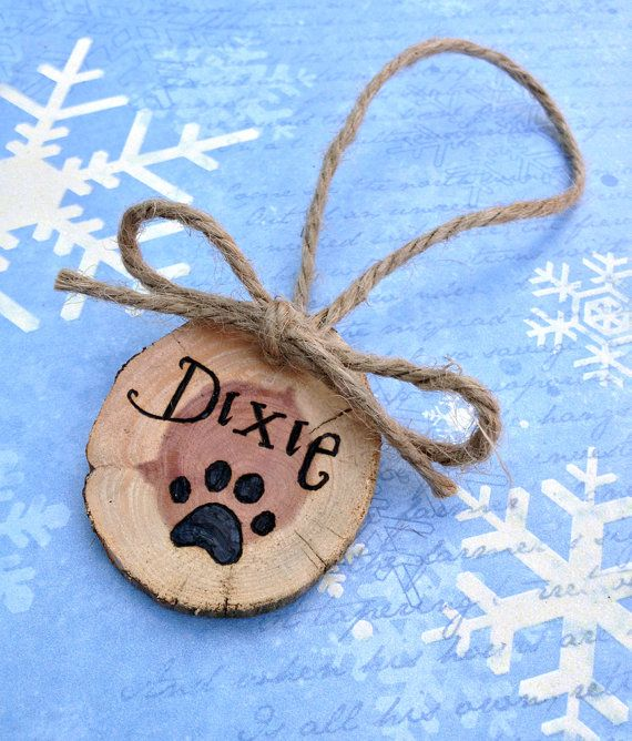 Personalized Pet Ornament - Dog Christmas - Rustic Keepsake. $10.00, via Etsy.