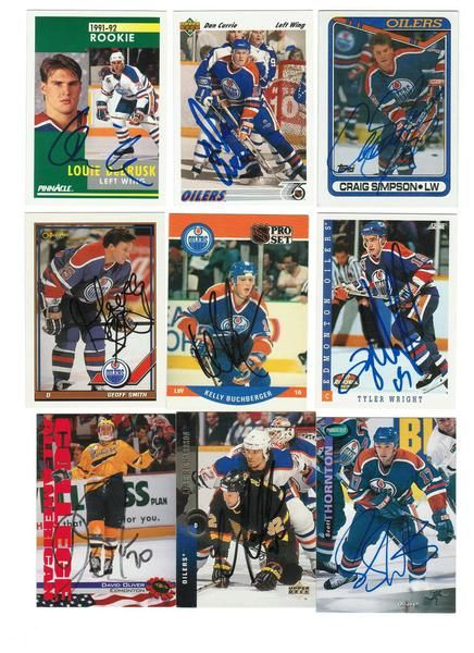 Edmonton Oilers Lot of 9 Autographed Cards. You will receive all cards in the picture. This Lot includes: Dan Currie, Craig Simpson, Louie DeBrusk, Kelly Buchberger, Tyler Wright, David Oliver, Geoff Smith, Luke Richardson & Scott Thornton.