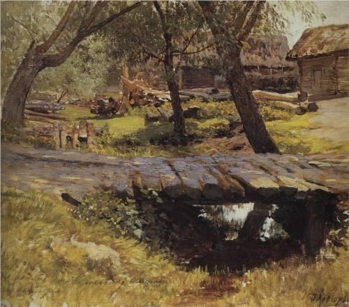 Isaac Levitan (Исаа́к Ильи́ч Левита́н, Lithuanian/Russian, 1860-1900)Footbridge. Savvinskaya Village