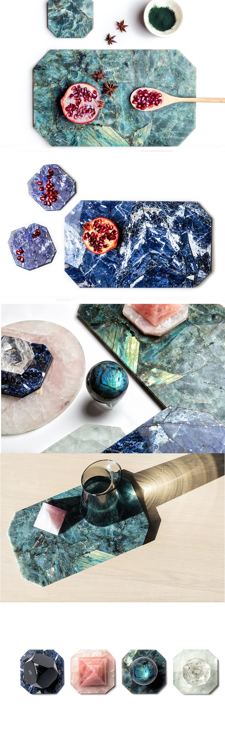 Crystal platters, coasters, trivets, balls https://shop.thecoolhunter.net/product-category/homewares/