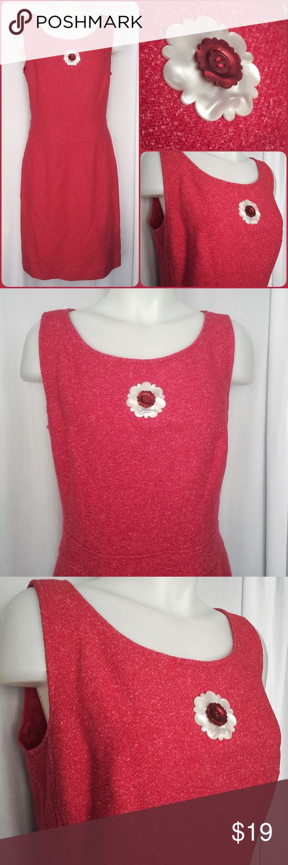 Wool/Silk Lined Sassy Red Dress by Etcetera SZ 10 Gorgeous dress by Etcetera! Tailored and uniquely sassy, fully lined and beautiful. The color is a soft red with pink undertones and the material is what truly adds the designers edge. A blend of wool, silk and make the material thick but very soft, not scratchy or rough. The added button zest is another eye catching stunner. In excellent condition and ready to enjoy! Etcetera Dresses