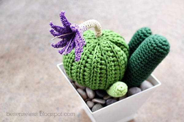 "That brings up the cactus amigurumi with the novelty of the small pot (plastic) and soil (pannolenci) covered with stones (the first ""exemplary"" are here .) This time should be quite in line with the flowering period and the idea of the long stem that seems a bit 'faded continue to use it, did not know a thing that convinces me. (translated by Chrome)."