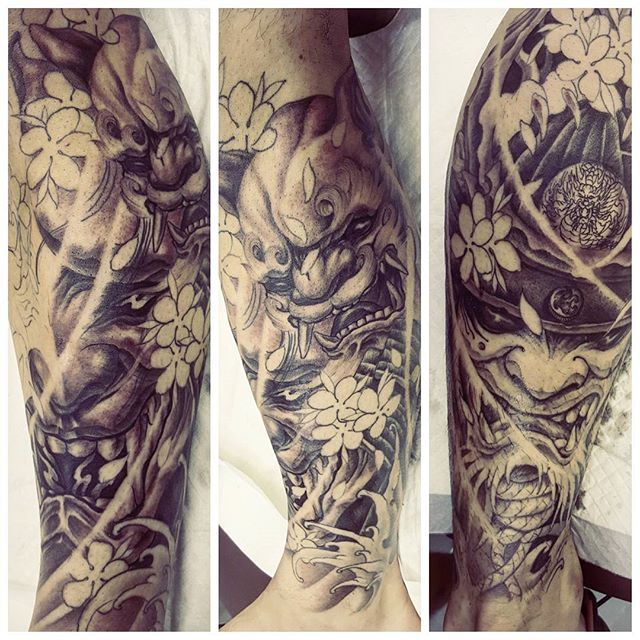 work in progress leg sleeve hannyamask hannyatattoo shisa shisatattoo samuraimasktattoo. Black Bedroom Furniture Sets. Home Design Ideas