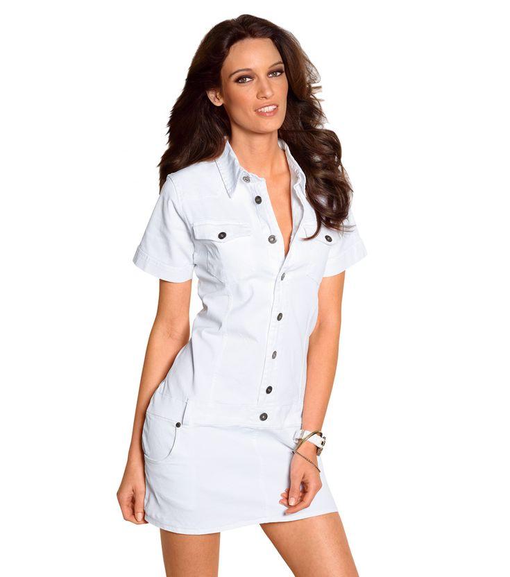vestido-mujer-de-manga-corta-elastico-blanco.jpg (884×1000)