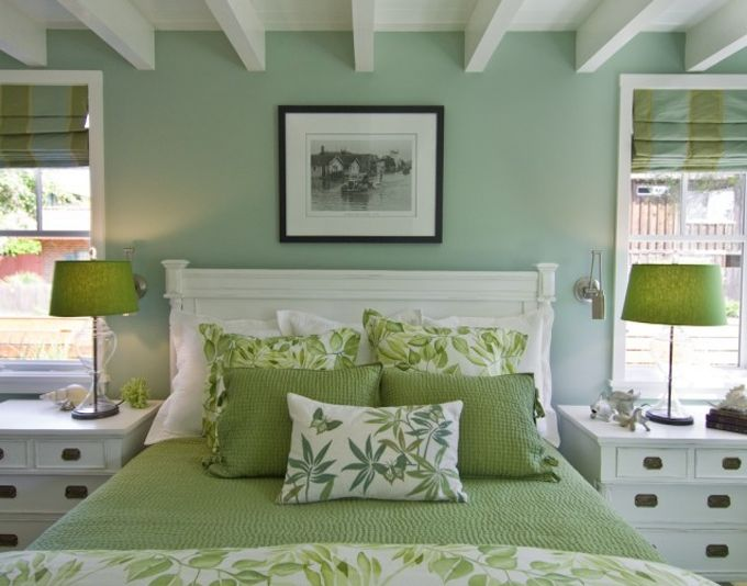 I Love The Aqua With Green And White In This Bedroom