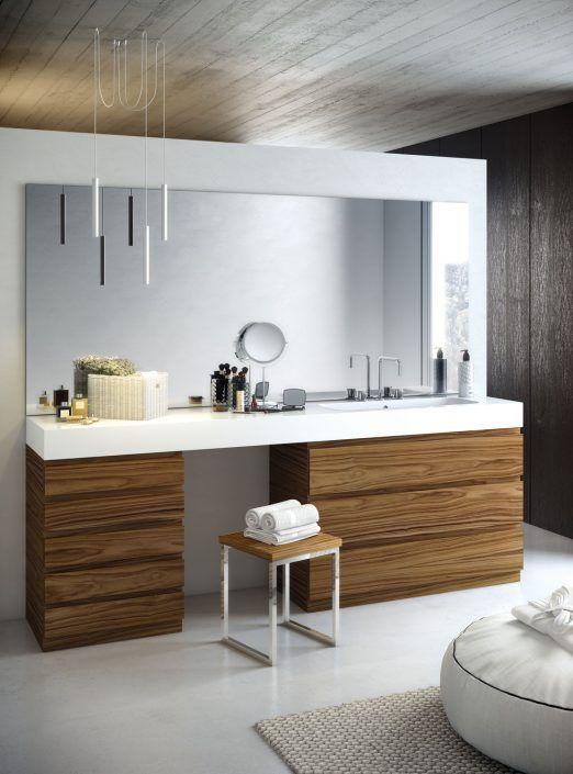 Muebles de baño personalizados, hechos a medida.  PLANTEAMIENTO 1. Conjunto de grandes dimensiones. 2. Zona de tocador. 3. Composición moderna SOLUCIÓN 1. Utilizar materiales innovadores. 2. Zona específica de maquillaje 3. Diseño minimal para grandes dimensiones