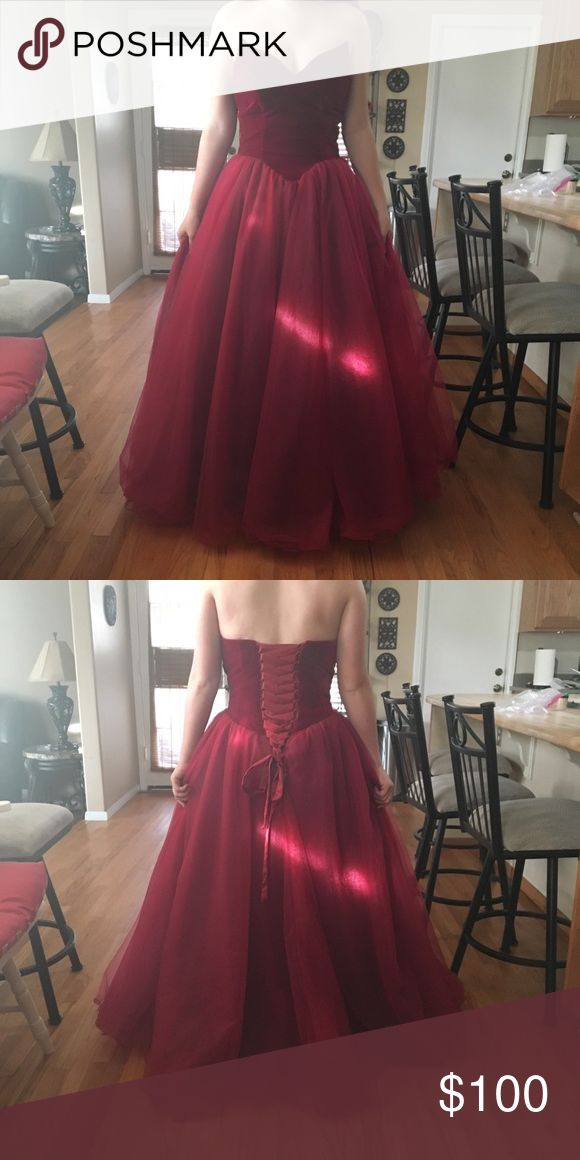 Burgundy formal prom dress Only worn once, perfect condition Size: 8 but can fit down to a size 3 Fits better with a bigger bra size Other