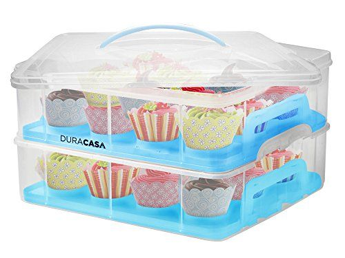 DuraCasa Cupcake Carrier  Cupcake Holder  Store up to 24 Cupcakes or 2 Large Cakes  Stacking Cupcake Storage Container  Cupcake Cookie or Cake Dessert Carrier Blue * Read more reviews of the product by visiting the link on the image.