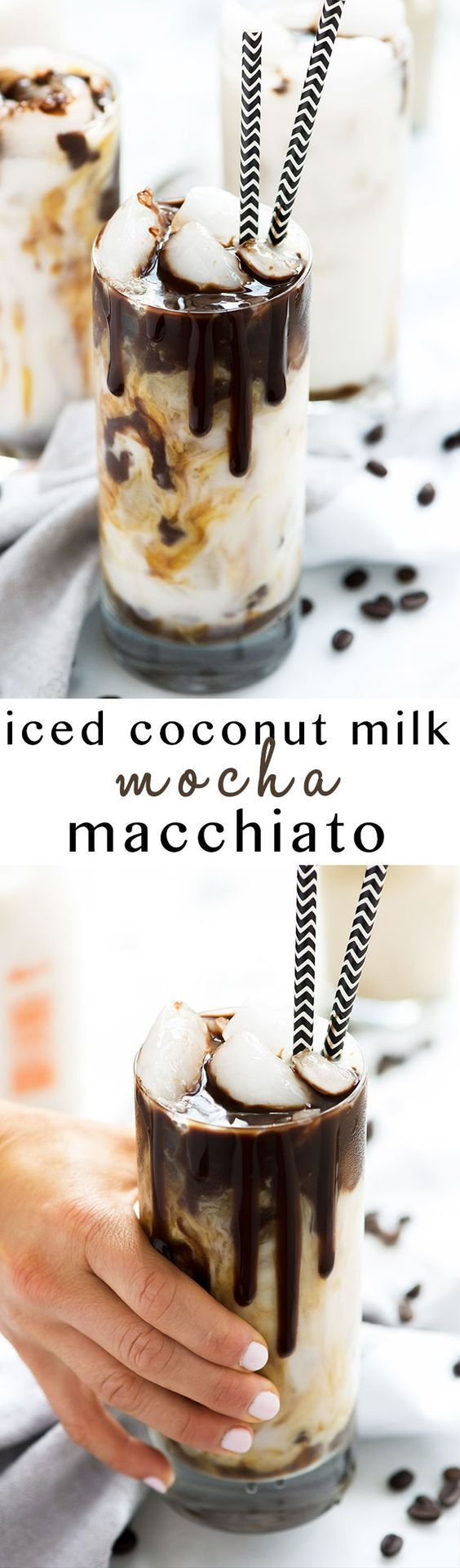 Iced Coconut Milk Mocha Macchiato is just how I want to start each day or give my afternoon a java jolt! Creamy coconut milk swirled with rich chocolate and topped with espresso. So fancy you will be calling yourself a barista! #CoffeeDrinks