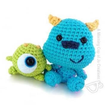 Baby Mike and Sulley amigurumi crochet pattern