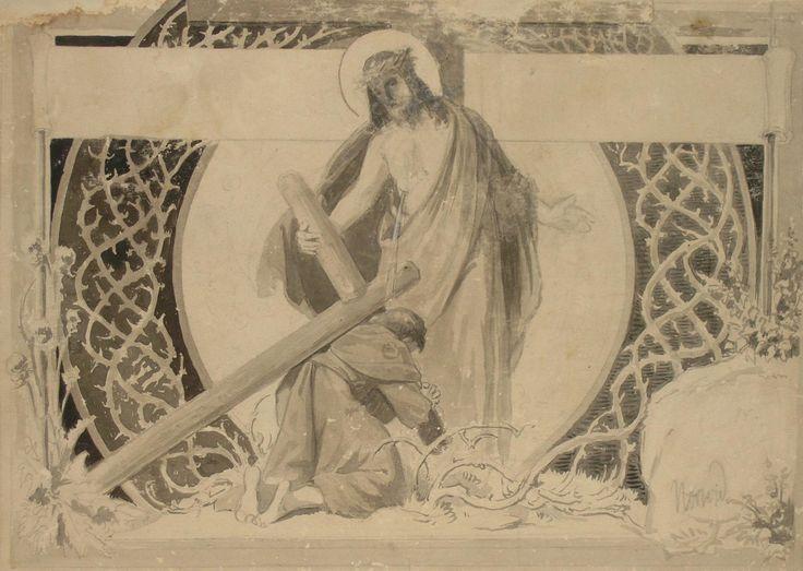 Cyprian Kamil NORWID ,Spotkanie Chrystusa , rysunek, tusz lawowany, ołówek, papier, 27,3 x 38,4 cm