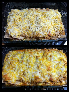 Chicken Enchiladas, I prefer corn tortillas though!