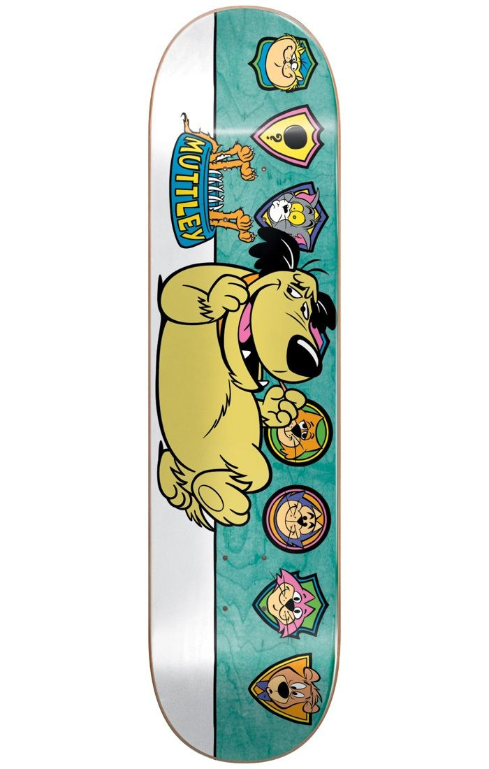 #Almost Skateboards Almost Muttley Plaques R7 Skateboard Deck - #Features:Length: 31.7Width: 8.125Wheelbase: 14.25Concave: Mellow with steep kickMuttley Plaques graphic atop a natural stain finishMaterials:Construction: Resin-7, 100% Canadian MapleAlmost and Hanna-Barbera have joined forces in an eye-popping spinoff to help skaters, young and old, relive their youth! With their colourful, stained background and clean-cut graphic, iconic cartoons from the 90s are brought back to life so that…