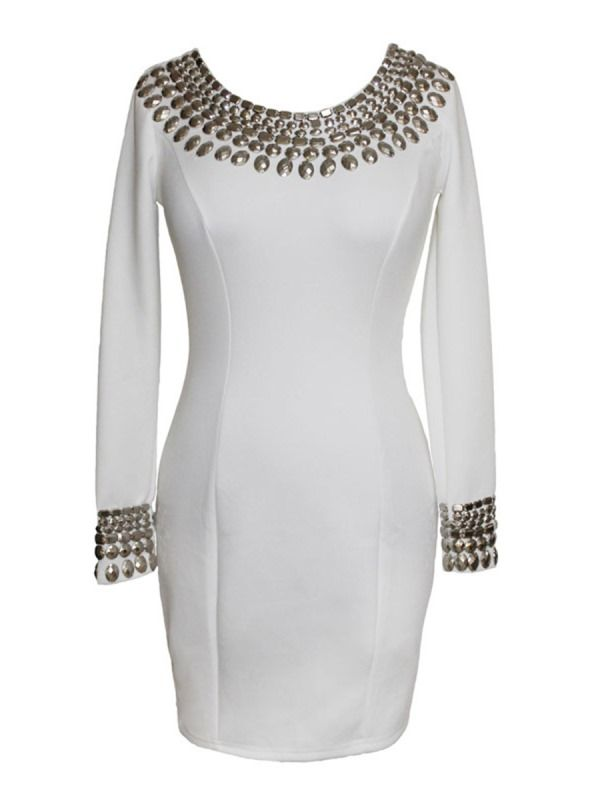 Rivet Round Neck Patchwork Bodycon Dress