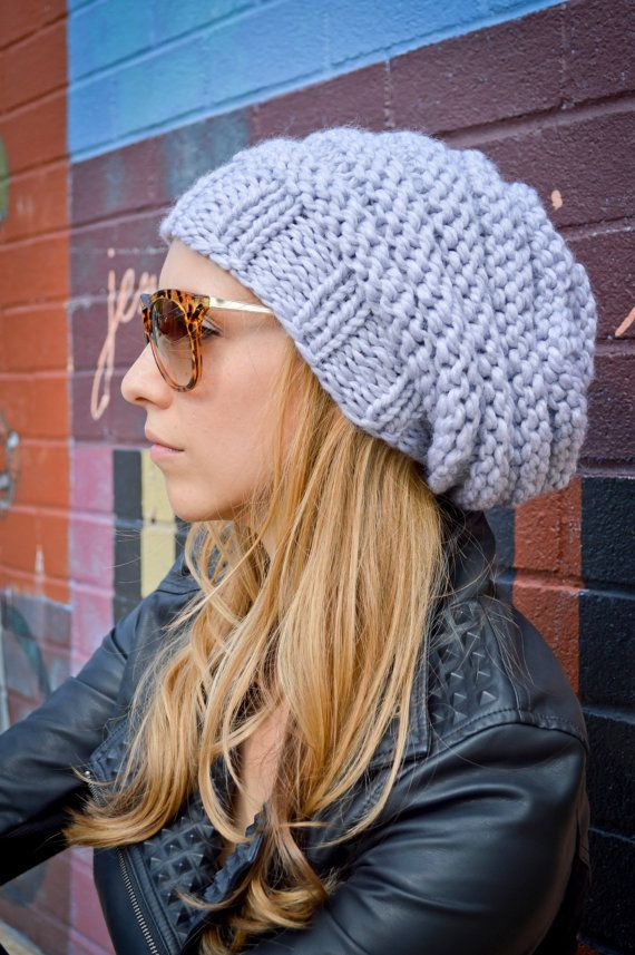 Slouch Beanie CHOOSE COLOR, Women's Hand Knit Slouchy Hat, Women's Knit Hipster Hat, Chunky Slouchy Hat, Fall Winter Accessories