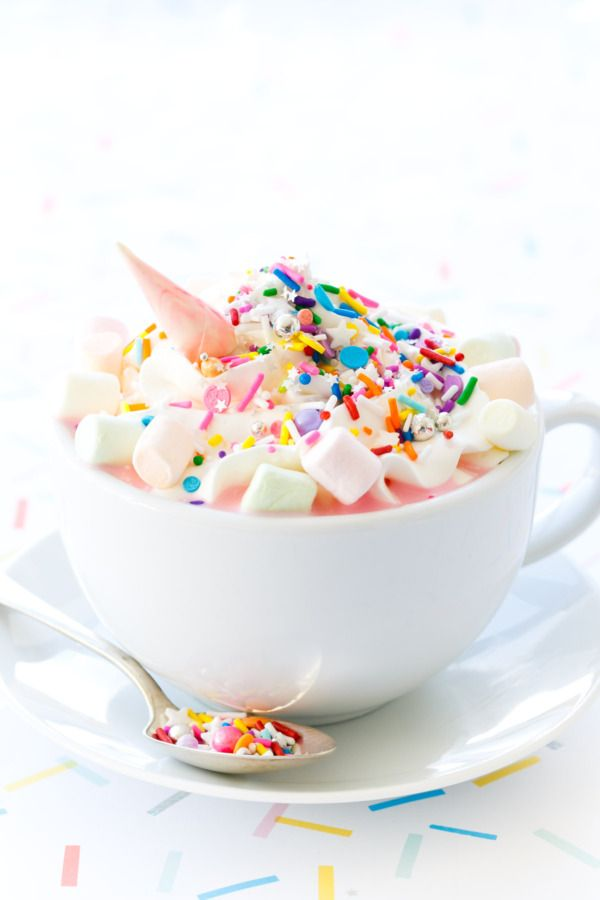 this unicorn white hot chocolate is truly magical! because everything is better with sprinkles...