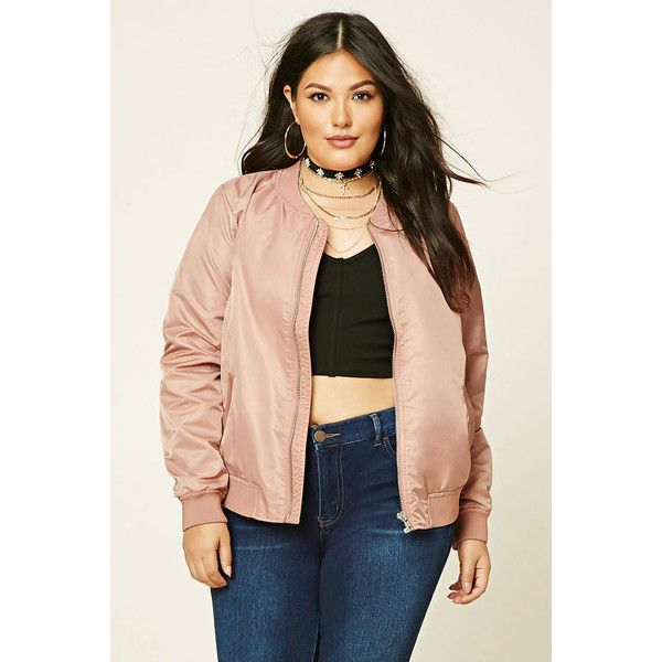 Forever 21 Plus Women's  Plus Size Bomber Jacket ($30) ❤ liked on Polyvore featuring plus size women's fashion, plus size clothing, plus size outerwear, plus size jackets, forever 21, plus size womens jackets, flight jacket, plus size bomber jacket and blouson jacket