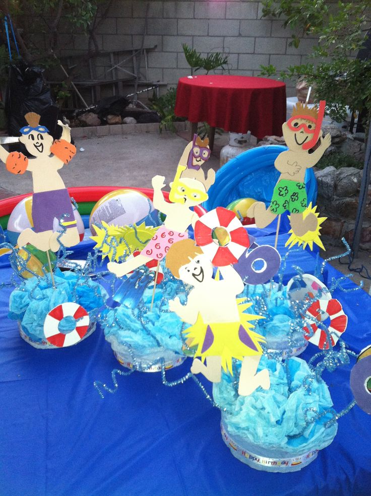 Pool party centerpiece pool party pinterest party for Party centerpiece ideas pinterest