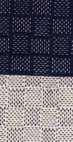 "Sashiko (刺し子?, literally ""little stabs"") is a form of decorative reinforcement stitching (or functional embroidery) from Japan. Traditionally used to reinforce points of wear, or to repair worn places or tears with patches, this running stitch technique is often used for purely decorative purposes in quilting and embroidery.The white cotton thread on the traditional indigo blue cloth gives sashiko its distinctive appearance, though decorative items sometimes use red thread."