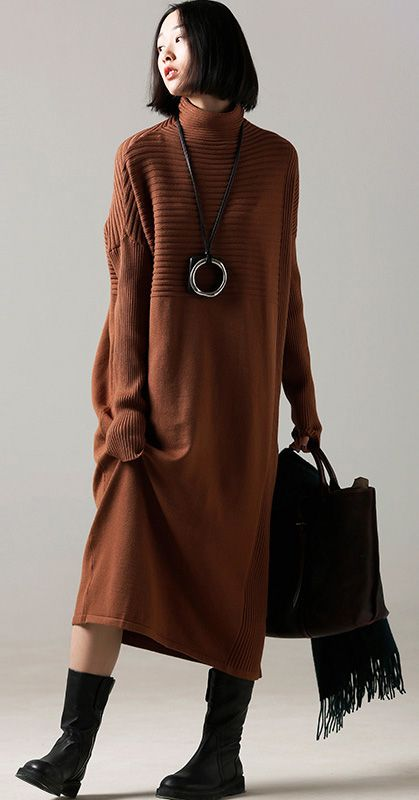 f141f83f11 Fashion Sweater dress outfit Classy high neck wrinkled brown Mujer knit  dress1