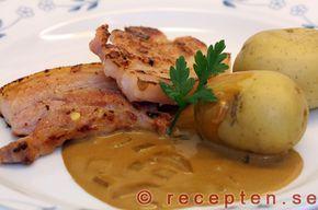 Stekt fläsk med löksås - Recept på stekt fläsk med löksås. God och enkel klassisk svensk husmanskost. Bilder steg för steg.
