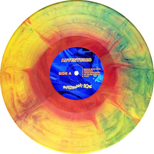Supersonic Home, Album by Adventures. Yellow/red/blue starburst vinyl. Collection of unusual, rare vinyl and unique colored collectible records.