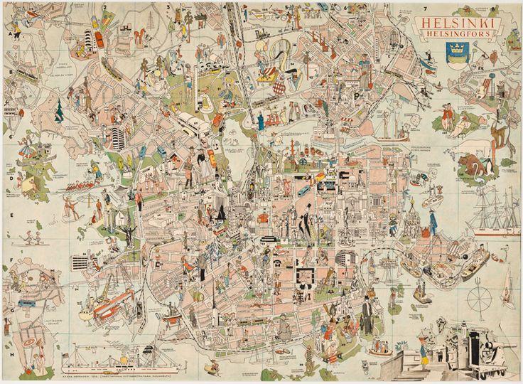 Aarne Nopsasen piirtämä turistikartta 1952 olympialaisia varten. Karttaa ei koskaan painettu, mutta se on esillä Hulluna Helsinkiin -näyttelyssä.