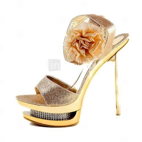 espumosos brillo superior bombas de tacón de aguja o sandalias con la boda de diamante de imitación / zapatos de fiesta (1177-l0822)
