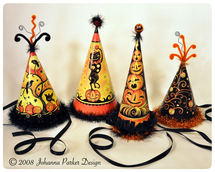 halloween...that Johanna, she's so talented!Parker Halloween, Johanna Parker, Halloween Parties, Parties Hats, Party Hats, Holiday Fun, Halloween Crafts, Halloween Hats, Parker Design