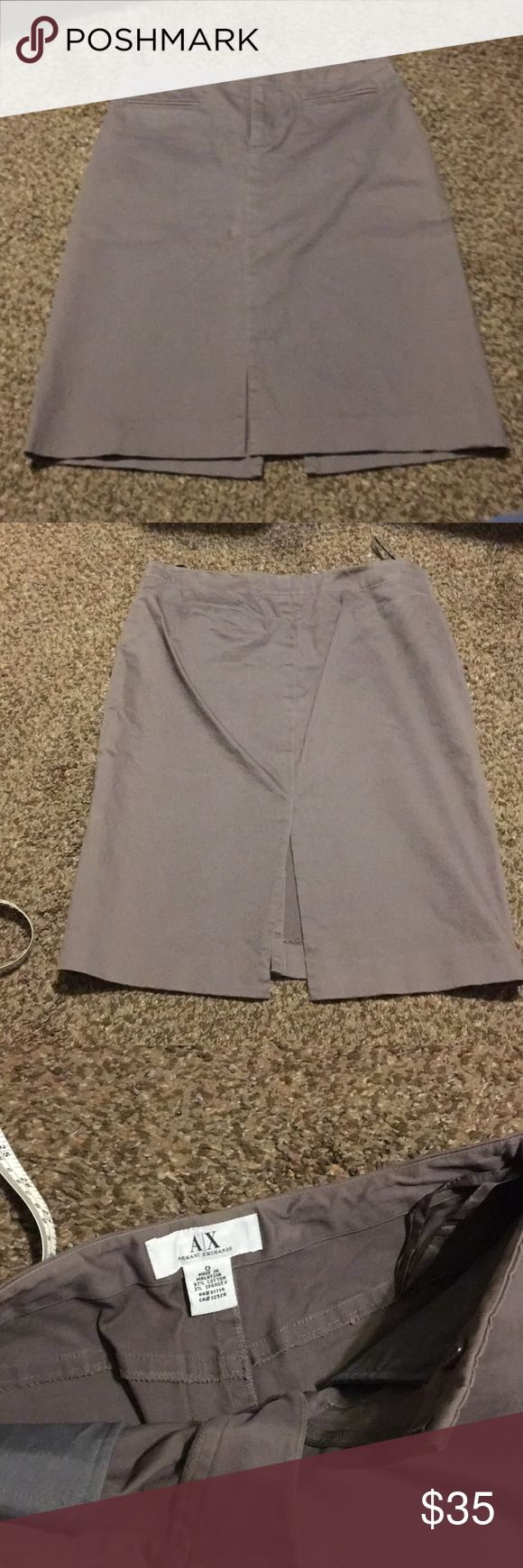 Armani exchange skirt Knee length (21inches). Size O. Super soft material. Excellent conditions. Has some markings but they are from the hanger (I think) since I haven't used it since it was last cleaned. A/X Armani Exchange Skirts Pencil