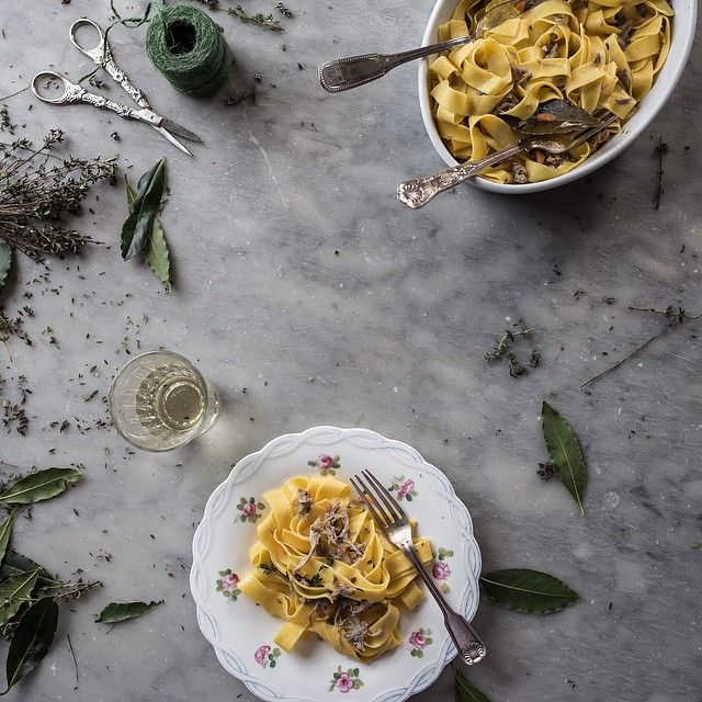 Egg Pappardelle with Duck & White Wine Ragu // Skye McAlpine. Find this #recipe and 30+ more of our favorite Italian recipes at https://feedfeed.info/italian-food?img=332664 #feedfeed
