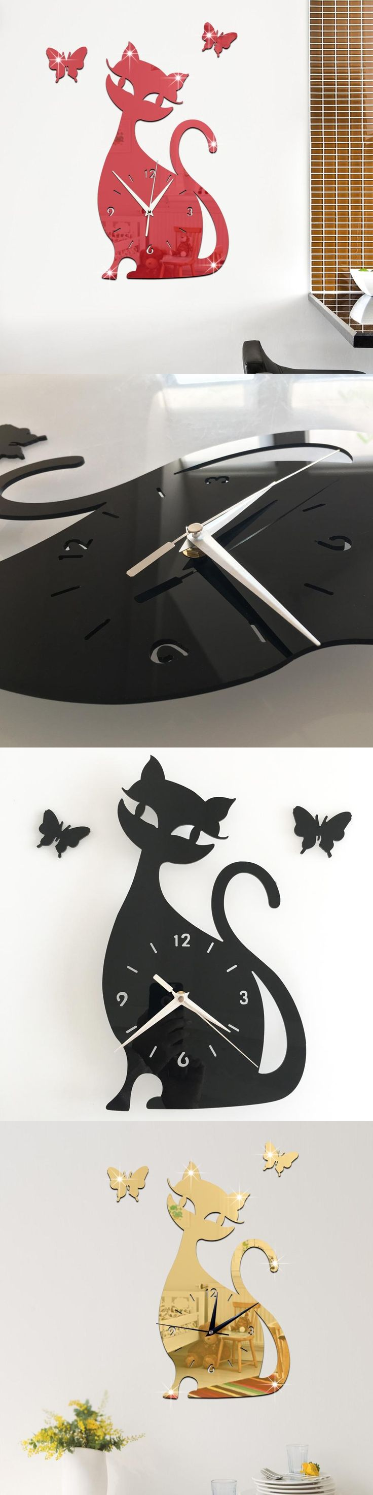Best 25 cat clock ideas on pinterest kit kat clock go to clock orologio da parete cute black cat clock kids bedroom wall sticker decoration mirror clock 3d cartoon amipublicfo Gallery