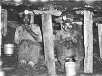 coal miners at lunch