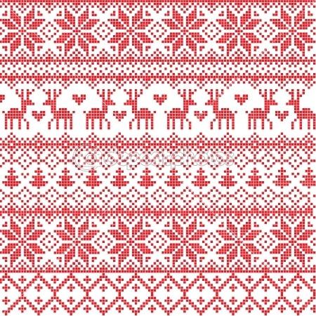 Red nordic pattern by Azazelka - Stockvectorbeeld