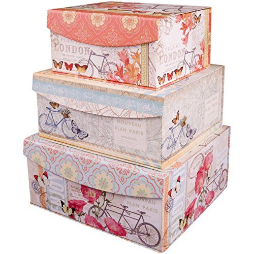decorative nested flip top storage boxes nested set of 3 enchante accessories - Decorative Boxes