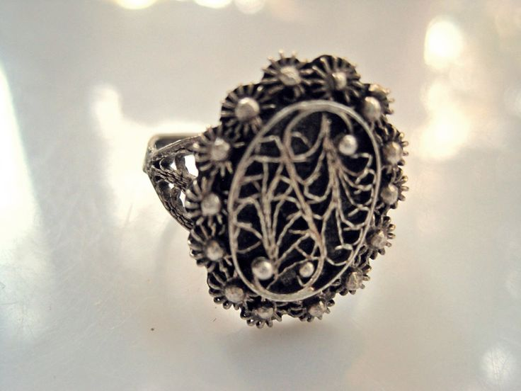 Middle East Ring, Silver Filigree, Ethnic Ring, Hallmarked, Ethnic Jewelry, Middle East Jewelry, Size 7, Filigree Jewelry by Anteeka on Etsy