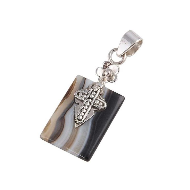 925 STERLING SILVER 4.52g BLACK BENDED AGATE PENDANT JEWELLERY P0134 #Handmade #Pendant