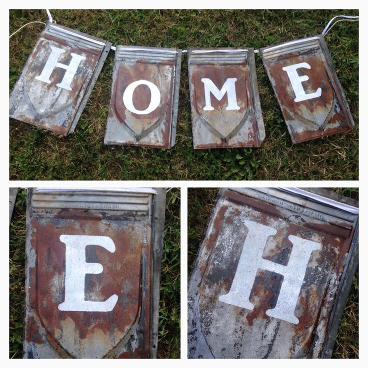 Banner Made From Antique Tin Roof Shingles Homemade