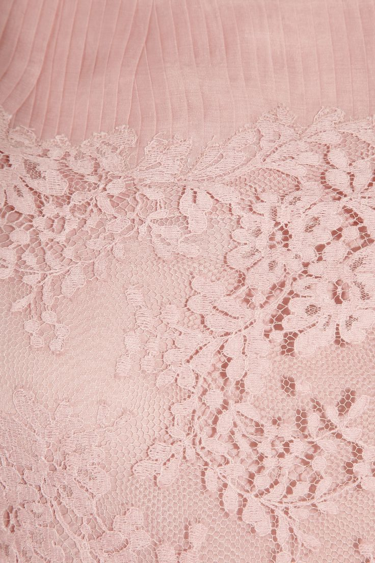 Valentino Lace and pleated silk-organza dress NET-A-PORTER.COM ~ shows detail of lace and pleated organza yoke & hemline ~
