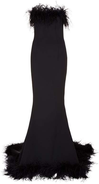 210eaa6c92345 Jovani Feather Trim Gown #shopstyle #blackgowns   Black Evening Gowns in  2019   Gowns, Formal dresses, Dress outfits