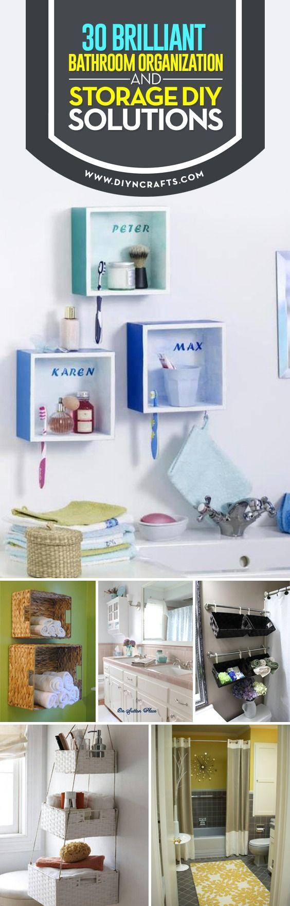 30 Brilliant #Bathroom #Organization and Storage #DIY Solutions via @vanessacrafting